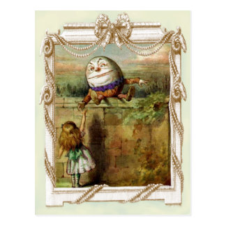 Humpty Dumpty and Alice Postcard