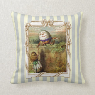Humpty Dumpty and Alice Throw Pillow