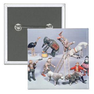 Humpty Dumpty Circus acrobats and menagerie 2 Inch Square Button