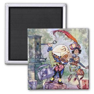 Humpty Dumpty Gets Loud In Wonderland 2 Inch Square Magnet