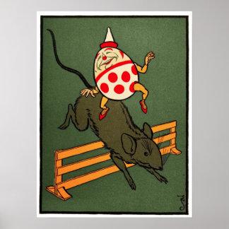 Humpty Dumpty Humpty monta un ratón Posters
