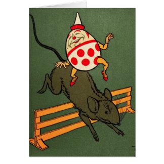 Humpty Dumpty: Humpty monta un ratón Tarjeta De Felicitación