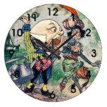 Humpty Dumpty in Wonderland Large Clock