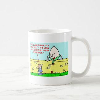humpty dumpty insurance classic white coffee mug