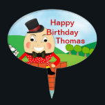 """Humpty Dumpty Nursery Rhyme Party Theme Cake Topper<br><div class=""""desc"""">Such a cute Humpty Dumpty,  mother goose nursery rhyme theme cake topper pick. A very jolly kids Picture and so easy to personalize with a name at no extra cost.</div>"""