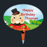 "Humpty Dumpty Nursery Rhyme Party Theme Cake Topper<br><div class=""desc"">Such a cute Humpty Dumpty,  mother goose nursery rhyme theme cake topper pick. A very jolly kids Picture and so easy to personalize with a name at no extra cost.</div>"