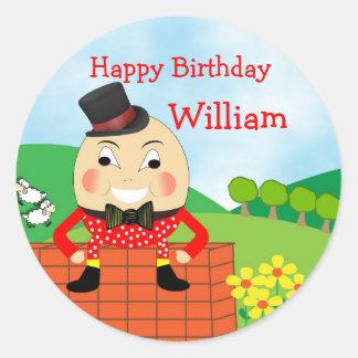 Humpty Dumpty Nursery Rhyme Theme Round Stickers