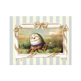 Humpty Dumpty on blue and white stripes Canvas Print