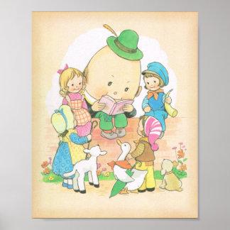 Humpty Dumpty, poesías infantiles del vintage, Mab Póster