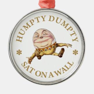 Humpty Dumpty Sat en una pared Adorno Redondo Plateado