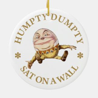 Humpty Dumpty Sat en una pared Adorno Redondo De Cerámica