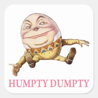 Humpty Dumpty Sat en una pared Pegatina Cuadradas