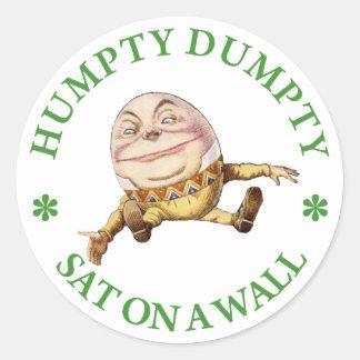 Humpty Dumpty Sat en una pared Pegatina Redonda