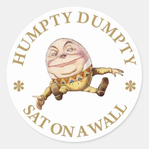 HUMPTY DUMPTY SAT ON A WALL CLASSIC ROUND STICKER