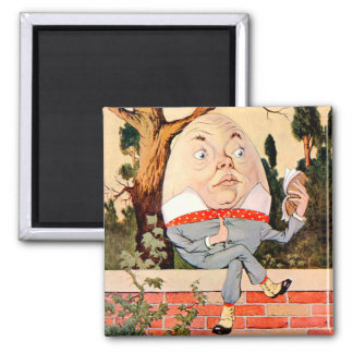 Humpty Dumpty Sat On a Wall in Wonderland 2 Inch Square Magnet