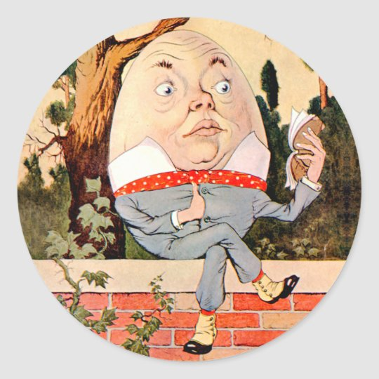 Humpty Dumpty Sat on a Wall in Wonderland Classic Round Sticker