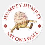 HUMPTY DUMPTY SAT ON A WALL - NURSERY RHYME CLASSIC ROUND STICKER