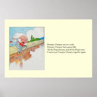 Humpty Dumpty sat on a wall Poster