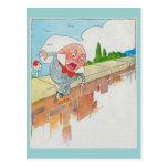 Humpty Dumpty sentado en una pared Postal