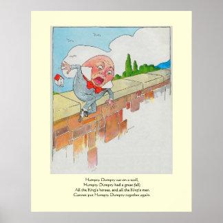 Humpty Dumpty sentado en una pared Póster