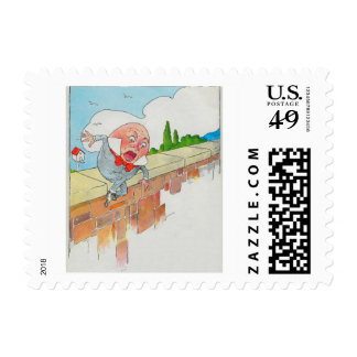 Humpty Dumpty sentado en una pared Sello