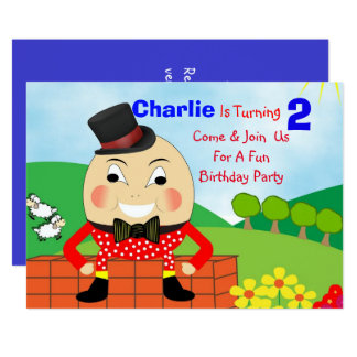 Humpty Dumpty Themed Kids Birthday Party Editable Card