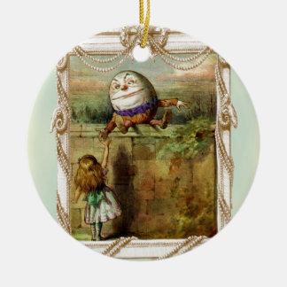 Humpty Dumpty y Alicia Adorno Navideño Redondo De Cerámica