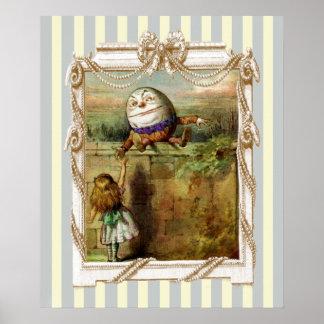 Humpty Dumpty y Alicia en rayas azules y blancas Póster