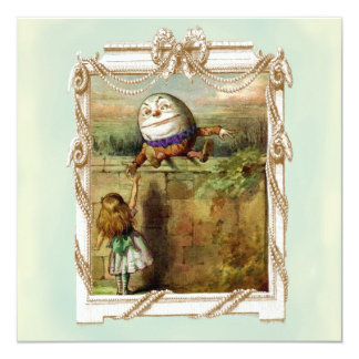 """Humpty Dumpty y Alicia Invitación 5.25"""" X 5.25"""""""
