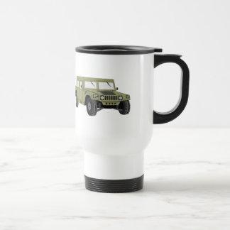 Humvee militar verde taza de viaje