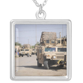 Humvee's conduct security during a patrol silver plated necklace