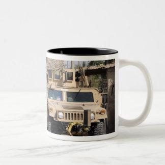 Humvee's conduct security during a patrol Two-Tone coffee mug