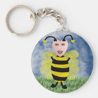 Hun E. Bee Basic Round Button Keychain