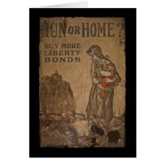 Hun or Home Buy Bonds WWI Greeting Card
