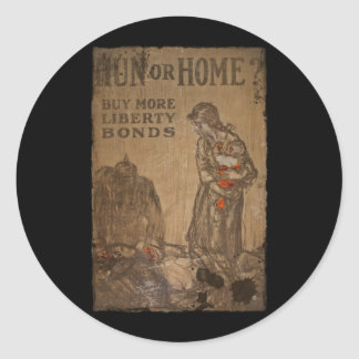 Hun or Home Buy Bonds WWI Classic Round Sticker
