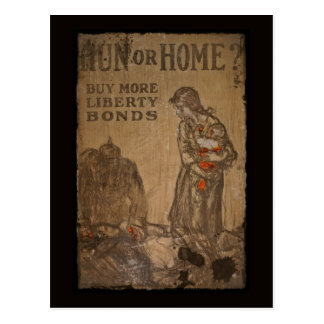 Hun or Home Buy Bonds WWI Postcard