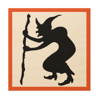 HUNCHBACK HALLOWEEN WITCH WOOD WALL ART
