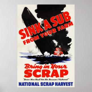 Hunda un submarino de su granja póster