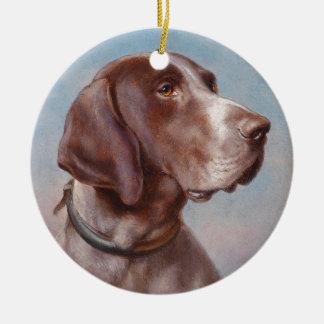 Hundeportrait by Carl Reichert Ceramic Ornament