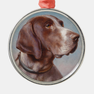 Hundeportrait by Carl Reichert Metal Ornament