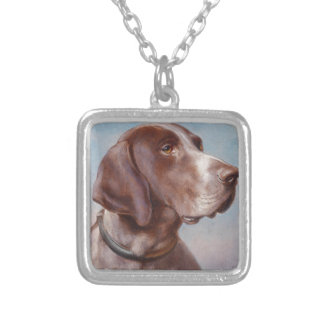 Hundeportrait by Carl Reichert Silver Plated Necklace