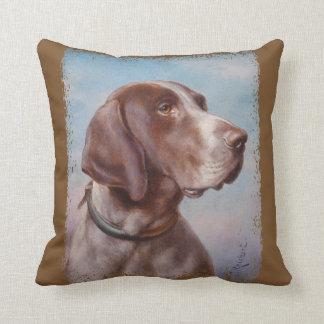 Hundeportrait by Carl Reichert Throw Pillow