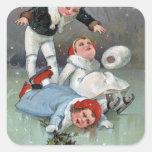 Hundimiento patinador de los niños de GladnessIce Pegatina Cuadrada