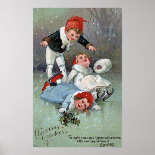 Hundimiento patinador de los niños de GladnessIce  Póster