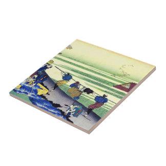 Hundred Poems Explained by the Nurse Hokusai Ceramic Tile