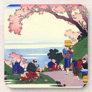 Hundred Poems Explained by the Nurse Hokusai Drink Coaster