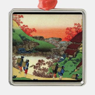 Hundred Poems Explained by the Nurse Hokusai Metal Ornament