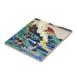 Hundred Poems Explained by the Nurse Hokusai Small Square Tile