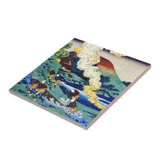 Hundred Poems Explained by the Nurse Hokusai Tile