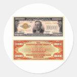 Hundred Thousand Dollar Bill Classic Round Sticker